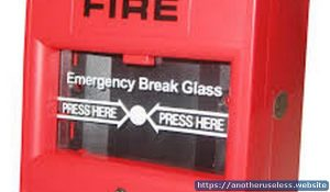 break glass to sound alarm - you shouldn't use this in case of emergency, break glass and sound the fire alarm